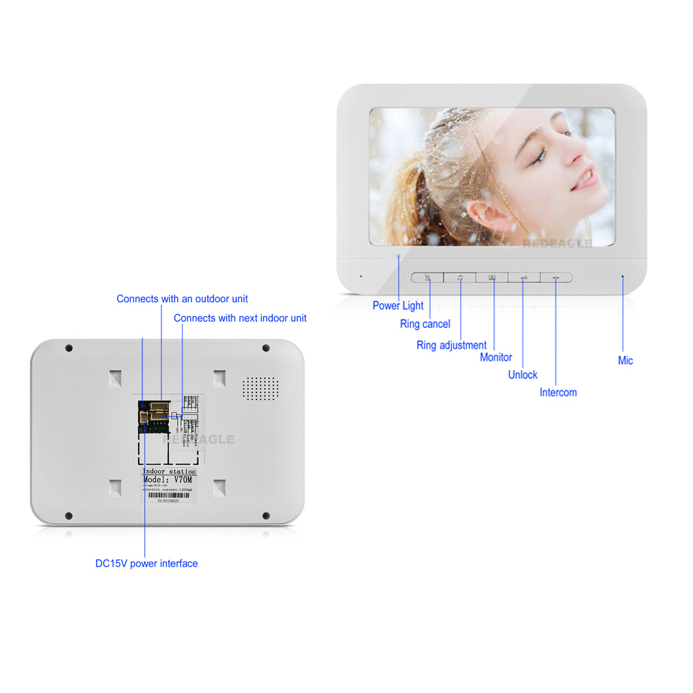 Thuis Bedraad Video Deurtelefoon Deurbel Intercom Systeem Met 7 Inch Lcd Monitor & Regendicht Nachtzicht Camera - 2