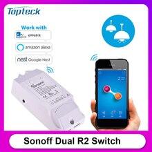 Sonoff duplo r2 2ch wi fi interruptor inteligente casa de controle remoto sem fio módulo universal interruptor do temporizador casa inteligente controlador