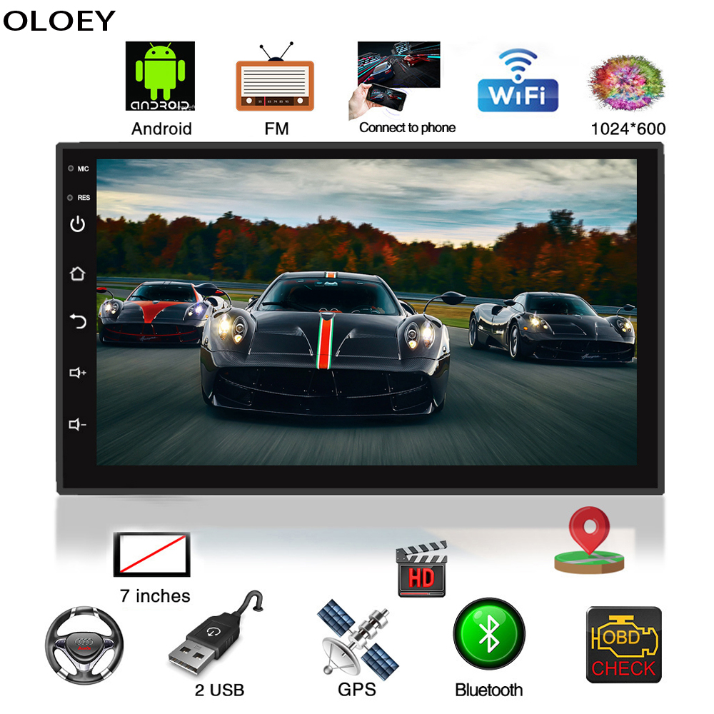 """2 Din Car Radio 7"""" HD Multimedia Player WiFi Online <font><b>Android</b></font> 8.1 Auto audio FM MP5 Car Player Bluetooth USB With Rear View Camera"""