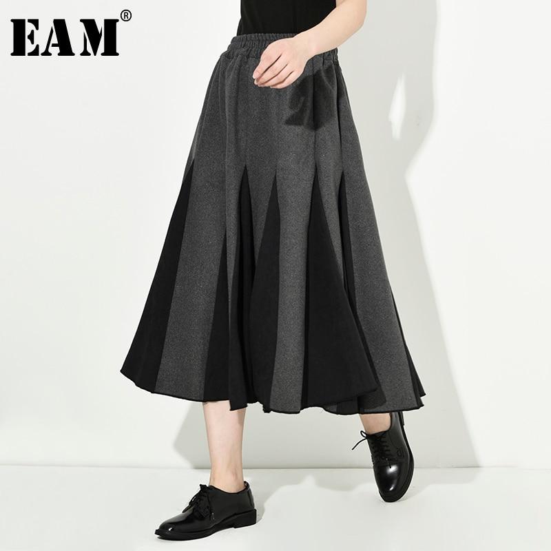 [EAM] High Elastic Waist Gray Contrast Color Temperament Woolen Half-body Skirt Women Fashion Tide New Spring Autumn 2020 1D7540