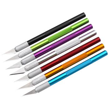 12 sztuk partia stopu aluminium drewna papieru Cutter Pen nóż skalpel stalowe ostrza grawerowanie noże dla rzemiosła Arts Drawing tanie i dobre opinie NoEnName_Null Elektryczne CN (pochodzenie) Aluminum Alloy DIY Repair Hand Tools Pencil Scyzoryk wielofunkcyjny