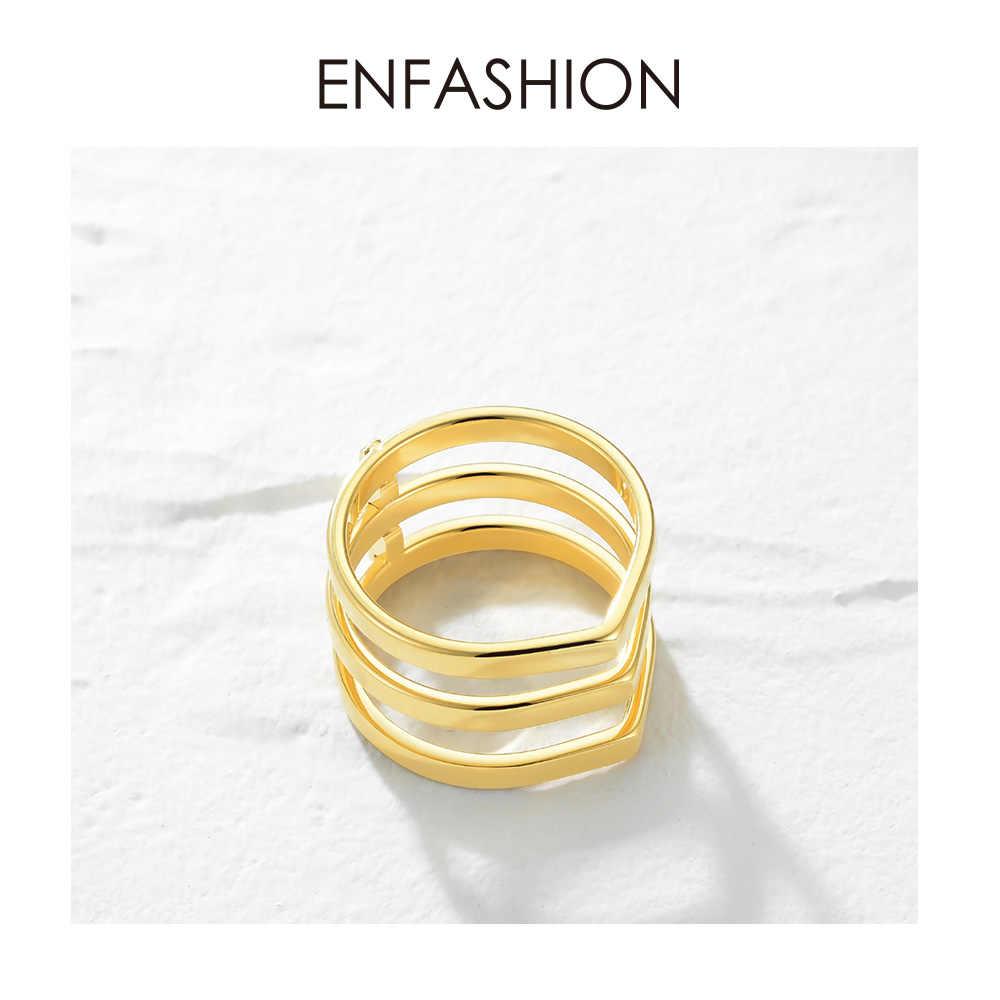 ENFASHION Punk 3 แถว Layered แหวนสแตนเลสสตีลสี MIDI Knuckle Finger แหวนแฟชั่นเครื่องประดับ Anillos R4016