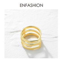ENFASHION Punk 3 Rows Layered Ring Stainless Steel Gold Color Midi Knuckle Finger Rings For Women Fashion Jewelry Anillos R4016(China)
