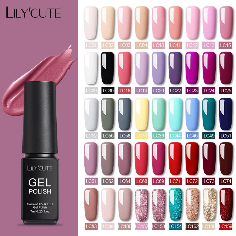 LILYCUTE 7ml Gel Polish Set UV Gel Nail Varnish Semi Permanent  Base Top Coat Varnish Nail Art  Gel Nail Polish Nails