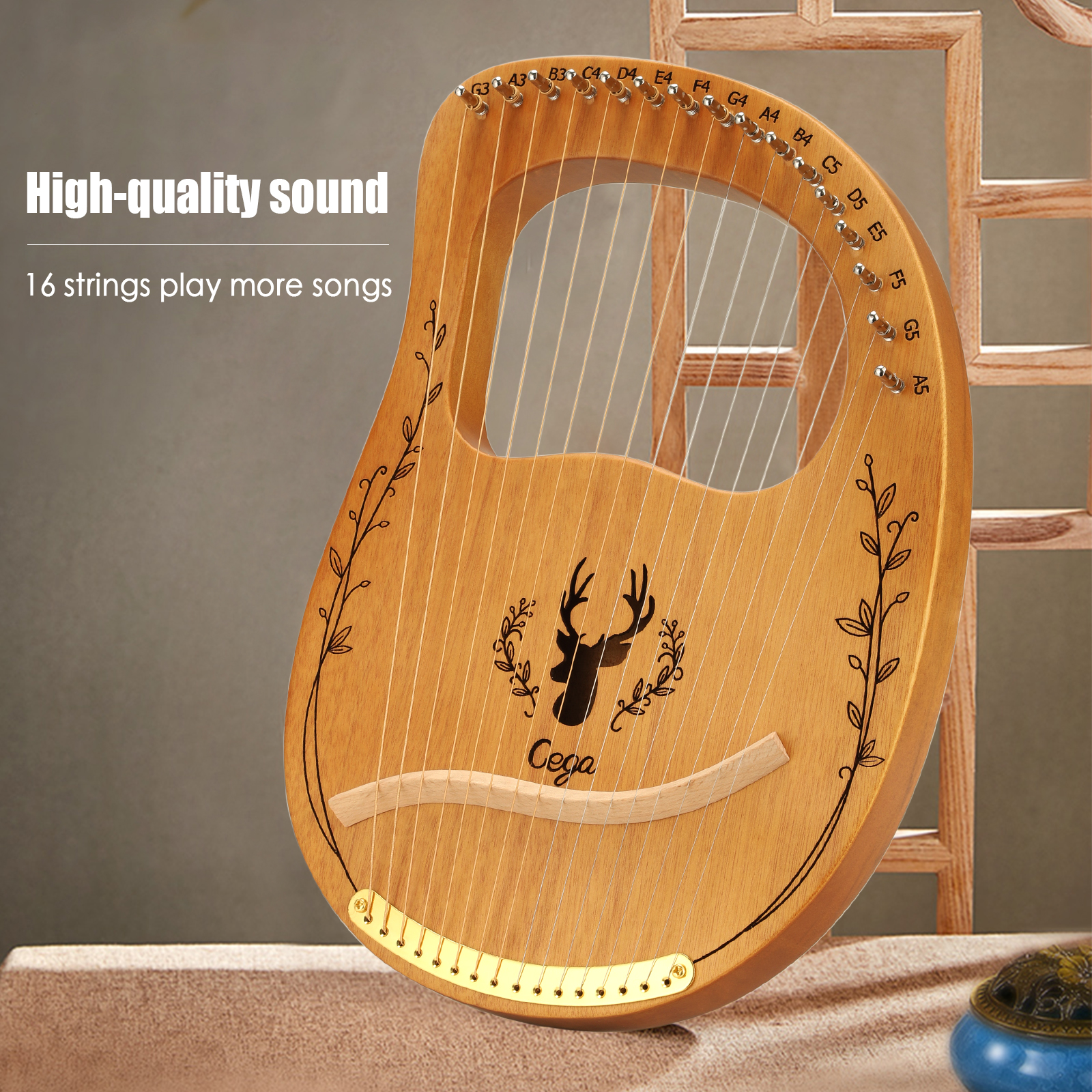 16 -string Lyre Harp/Lyre Harfe With Piano Bag Tuning Wrench String Picks, Suitable For Music Lovers, Beginners Children Adults