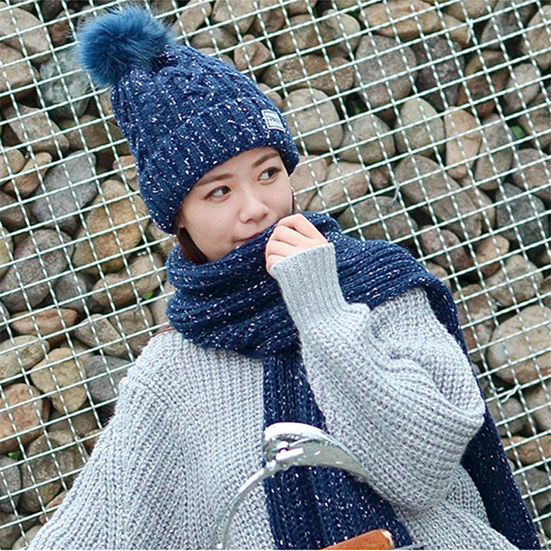 Fashion Gift Warm Winter Women Caps & Scarfs Elegant Scarf Hat Set Women Knit Pom Poms Beanie Cap Scarf Sets Long Ladies Scarves