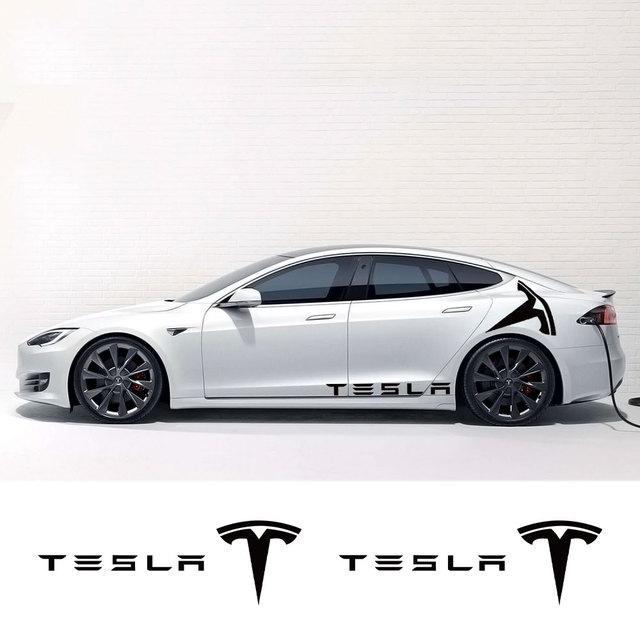 1Pair Car Styling Rear Door Stickers Decals Body Side Logo Stripe Trim Sticker Exterior Decor for Tesla Model 3 X S Accessories 3