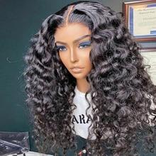 Perruque Lace Front Wig Deep Wave brésilienne Remy, cheveux naturels bouclés, 13x4, pre-plucked, avec Baby Hair, pour femmes africaines