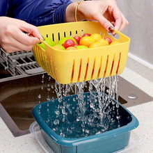 Double Layer Drain Basket Multi-Functional Square Large Refrigerator Preservation Box Plastic Kitchen Dish Washing Organizer