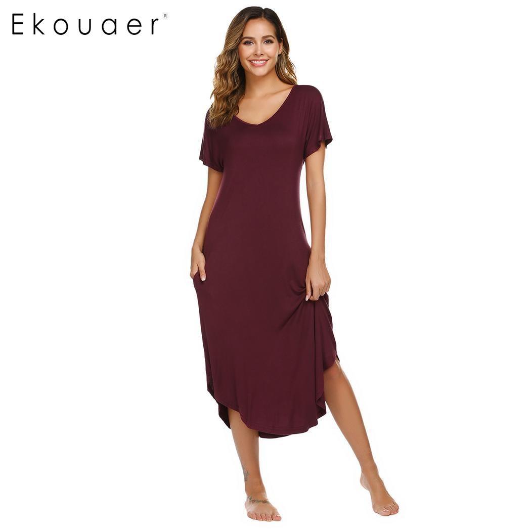 Ekouaer Long Summer Nightdress Women V Neck Nightshirt Short Sleeve Nightwear Solid Soft Rayon Nightgown Sleepwear