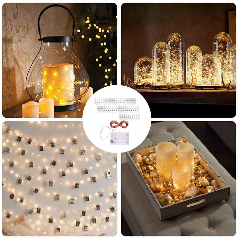 20/30/50/100 LED Photo Clip String Lights Copper Wire Clip Christmas Decoration Garland New Year Wedding Party Battery Lamp