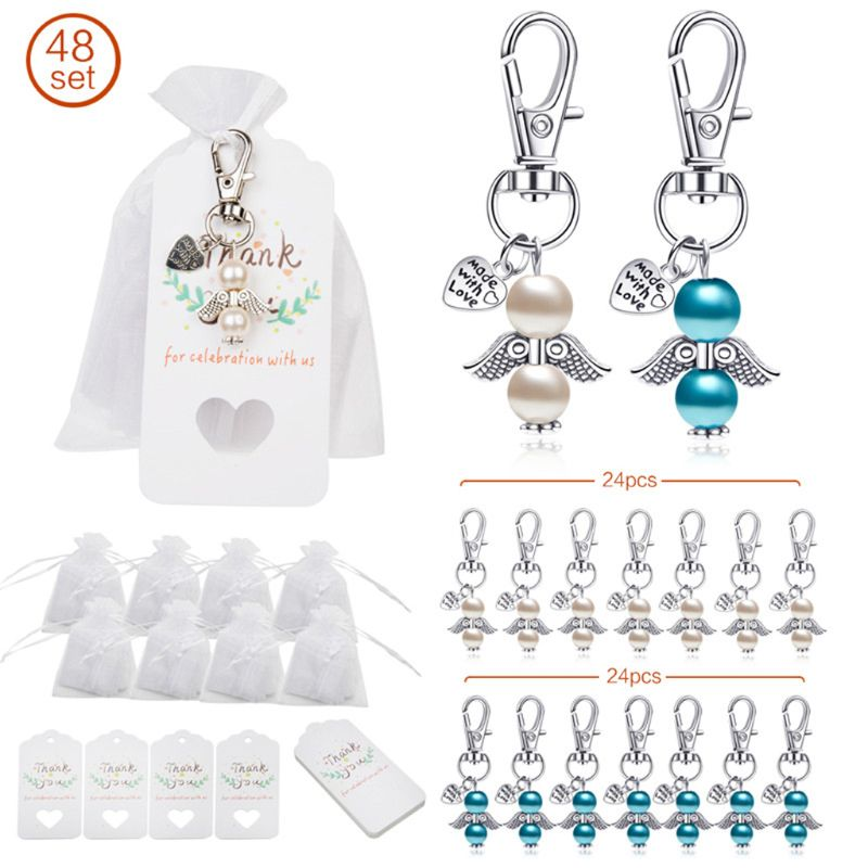 48pcs/set Angel Favor Keychains Keyring Thank You Kraft Tags Candy Bags for Baby Shower Wedding Gifts for guests Party Decoratio
