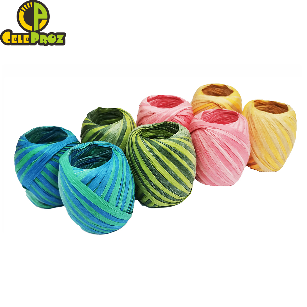 MOTZU 8 Rolls Natural Paper Rope Raffia Ribbon Crafting String for Gift Box Wrapping 4 Colors Floral Packing Craft Projects Wedding Birthday Party Tags Wrap Decoration 20m//66ft