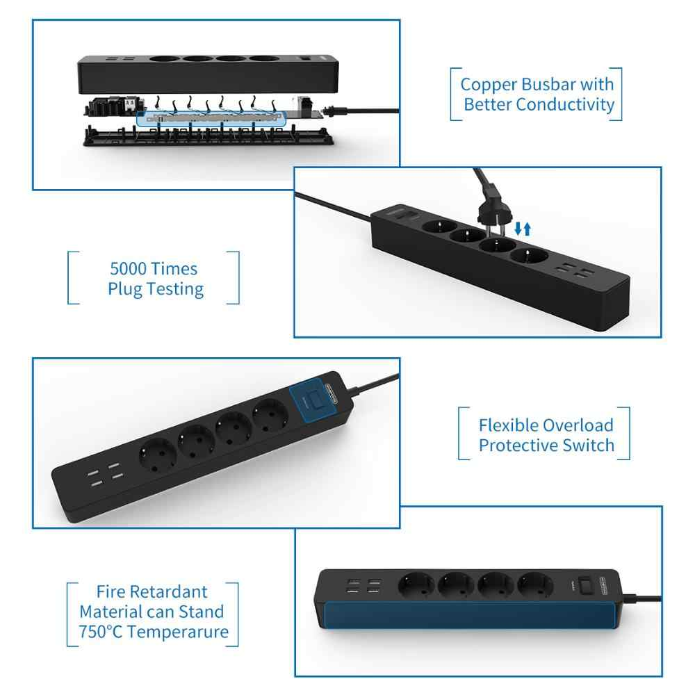 Filtro de red NTONPOWER 4000 W, tira de potencia inteligente, enchufes EU con cable de extensión de 1,5 M, Protector contra sobretensiones para oficina en casa