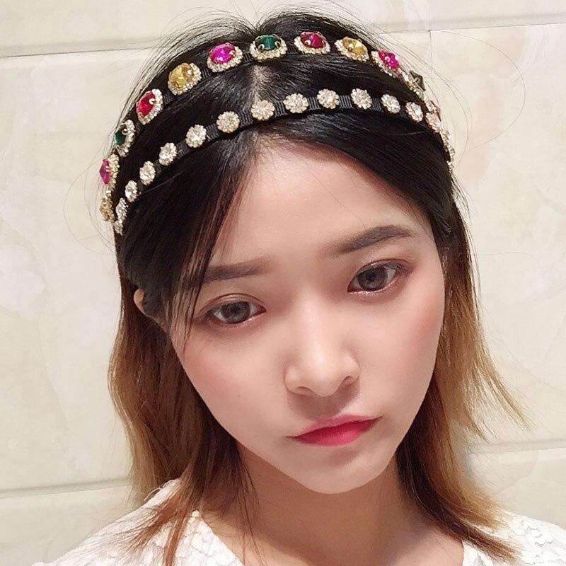 Barroco do Vintage Strass Hairband Feminino Dupla Fileira Luxo Rainha Bandana Alta Qualidade Headwear Princesa Colorido 2020