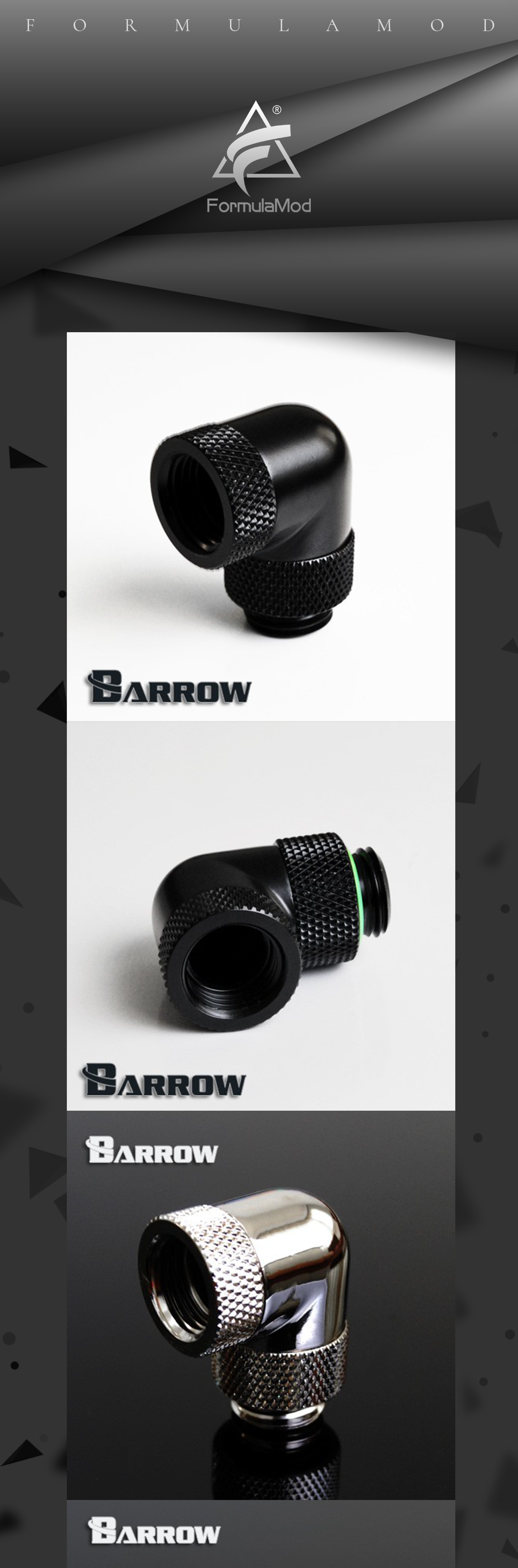 Barrow Black Silver G1/4''thread 90 degree two Rotary Fitting Adapter Rotating 90 degrees water cooling Adaptors TWT90S-V2