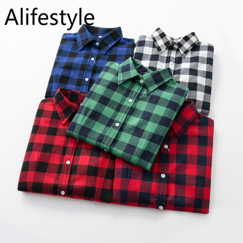 2020 New Women Blouses Brand New Excellent Quality Cotton 32style Plaid Shirt Women Casual Long Sleeve Shirt Tops Lady Clothes 1