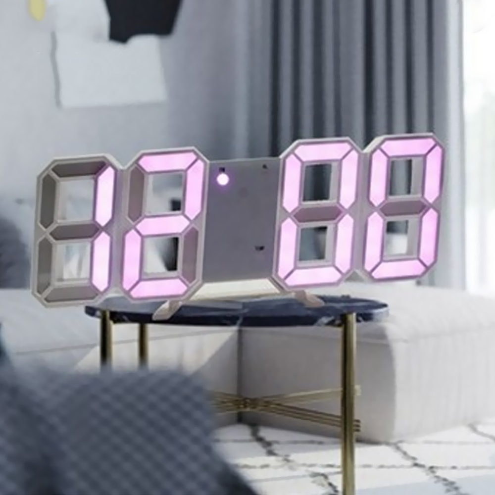 Reloj de pared Digital LED 3D con visualización de fecha y hora nocturna, reloj despertador, decoración para sala de estar, relojes de mesa de escritorio de diseño moderno Relojes despertadores  - AliExpress