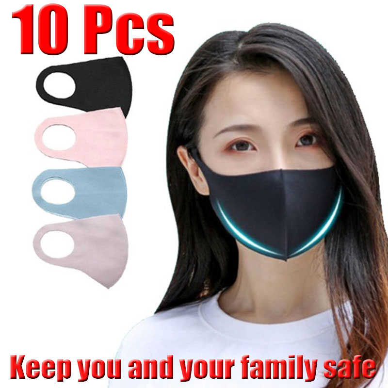 10 Pcs Reusable Vogue Black Anti-Infection Virus Mouthmask New Unisex Anti-dust Mouth Facemask Washable Breath Straps Wholesale