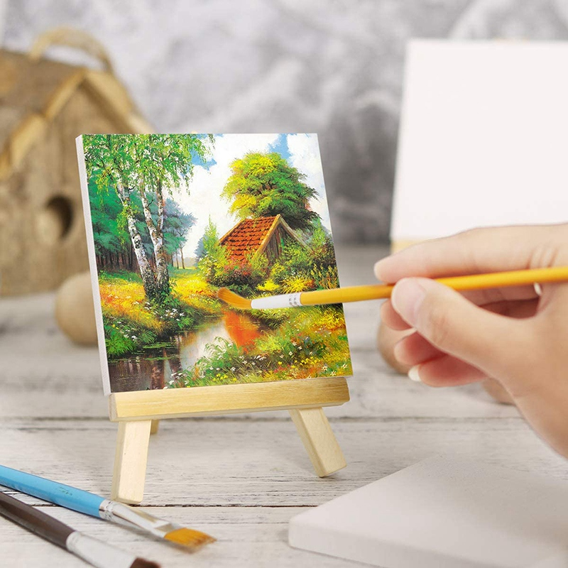 10 Pack Canvas and Easel Set Painting Craft Drawing Art Decoration Canvas Painting Stand Kit