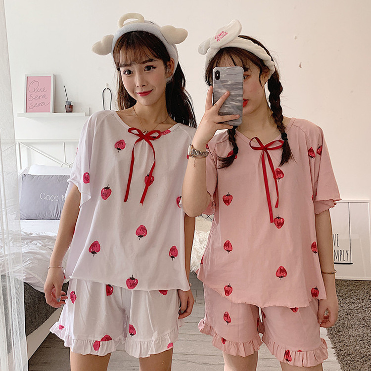 Korean-style Students Pajamas Women's Summer Short-sleeved Cute Strawberry Set Sweet Home Wear-Outer Wear Summer Two-Piece Set