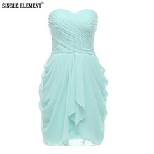 SINGLE ELEMENT Under 50 Real Photo Short Chiffon Sweetheart Bridesmaid