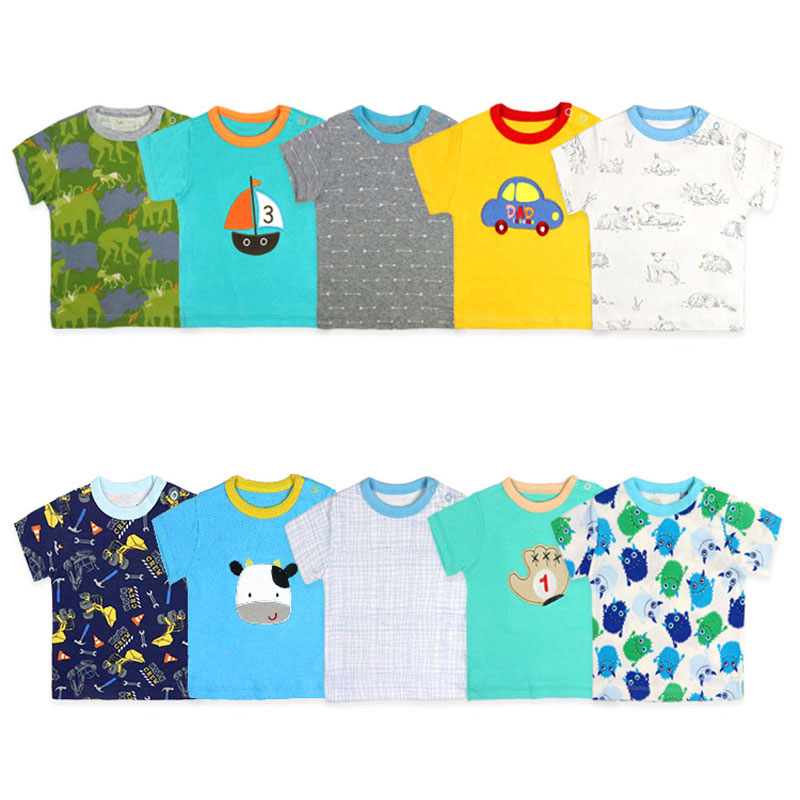 [5Pcs/lot Random Color]Cotton Baby Boy T-shirt Casual Baby Boy Shorts Sleeve Tops Summer Newborn T Shirt 3-24 Months