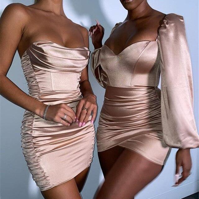 Summer Sexy Off Shoulder Strapless Satin Dress Women Backless Bodycon Silk Party Dress Sleeveless Ruched Short Club Mini Dress 5