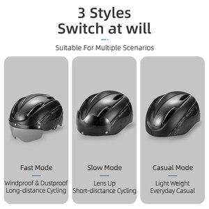 Image 4 - ROCKBROS casco de bicicleta para hombre y mujer, moldeado integralmente, transpirable, gafas, lentes Aero, MTB, Casco de Bicicleta de carretera