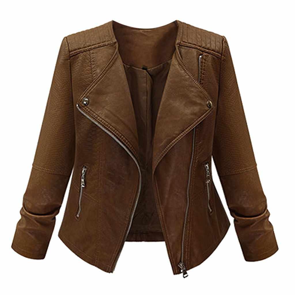 Женское кожаное пальто на молнии, винтажное облегающее байкерское мотоциклетное пальто, Осень-зима 2020