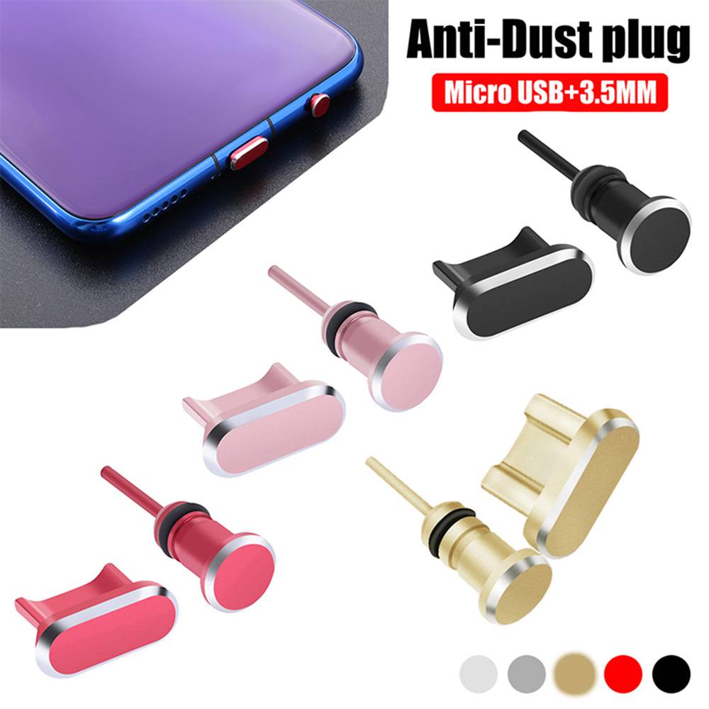 Colorful Metal Micro Charging Port Anti-Dust 3.5mm Earphone Jack Dust Plug For Samsung S20 Huawei Xiaomi Phone Accessories