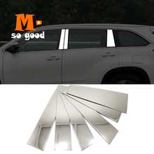 for Toyota Highlander Kluger Stainless Car Window trims Side Column Pillar Cover Trim 2014 2015 2016 2017 2018 accessories 6pcs