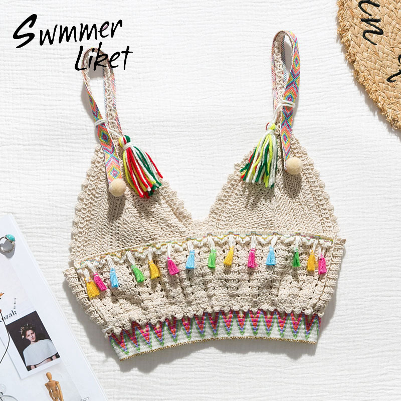 Vintage Crochet Swimsuit Cover Ups Female Hollow Out Bikini 2020 New Tassel Crop Top Summer Bathers Biquini Sexy Swimwear Women