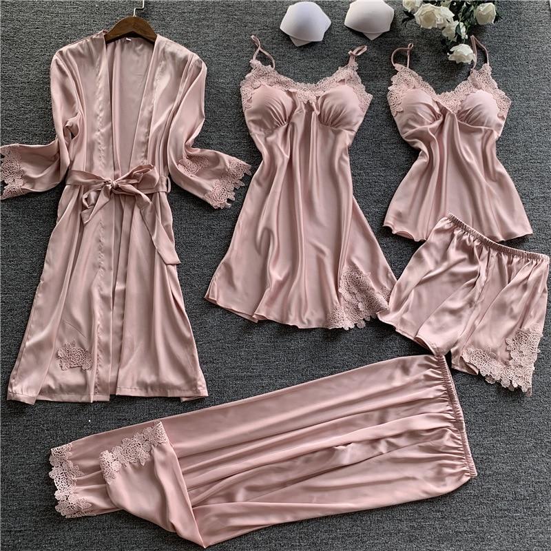 Spring Autumn Sexy Women Satin Silk Pajamas Sets 5 Pieces Sleepwear Pijama Homewear Sleep Lounge Pyjama With Chest Pads