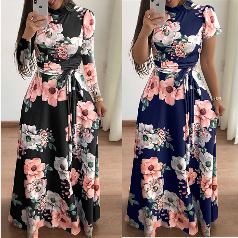 Women autumn Dress 2020 Casual Long Sleeve Long Dress Boho Floral Print Maxi Dress Turtleneck Bandage Elegant Dresses Vestidos