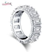 COLORFISH Solid 925 Silver Halo Eternity Rings Full Pave With Round Emeralded Cut Wedding Engagement Band Ring