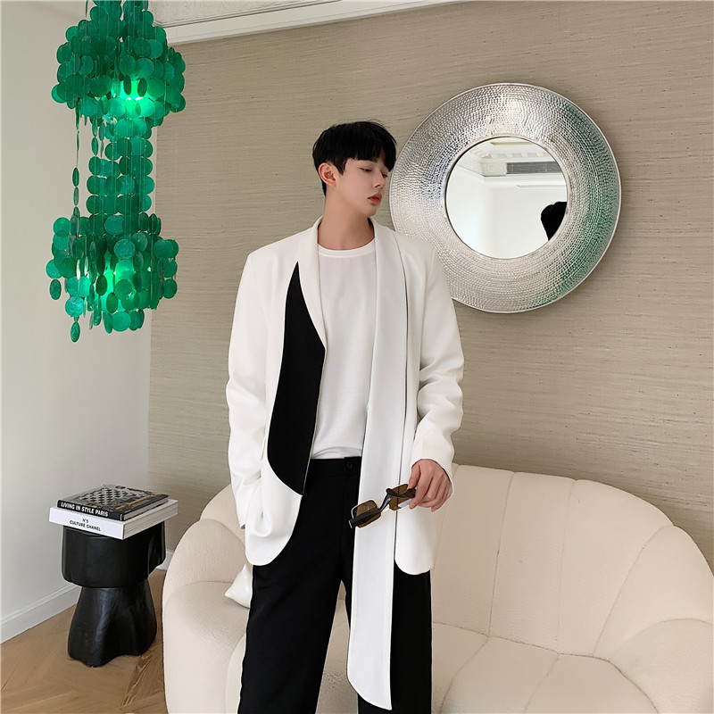 Fashion Show Casual Suit  Blazer Jacket  Coat Men Women Street Black White   Outerwear Male Cardigan Overcoat B75