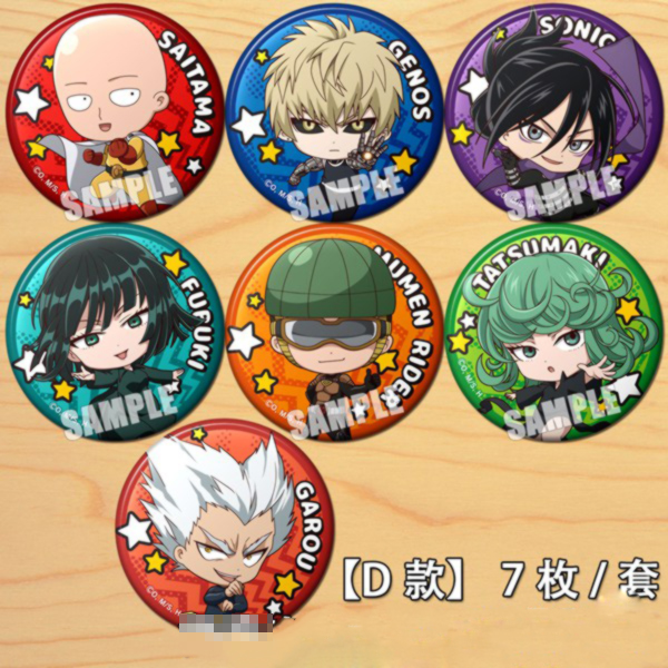 Hot Anime ONE PUNCH MAN Saitama Genos Cartoon Bedge Button Brooch Pins Collect Backpacks Bedge Decor Pendant Cosplay Costumes