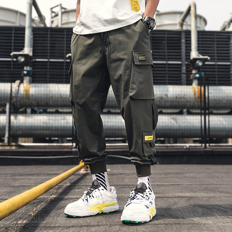 2019 Men Summer New Style Japanese-style Bib Overall Ankle Banded Pants Men's Loose-Fit Popular Brand Multi-pockets Large Size C