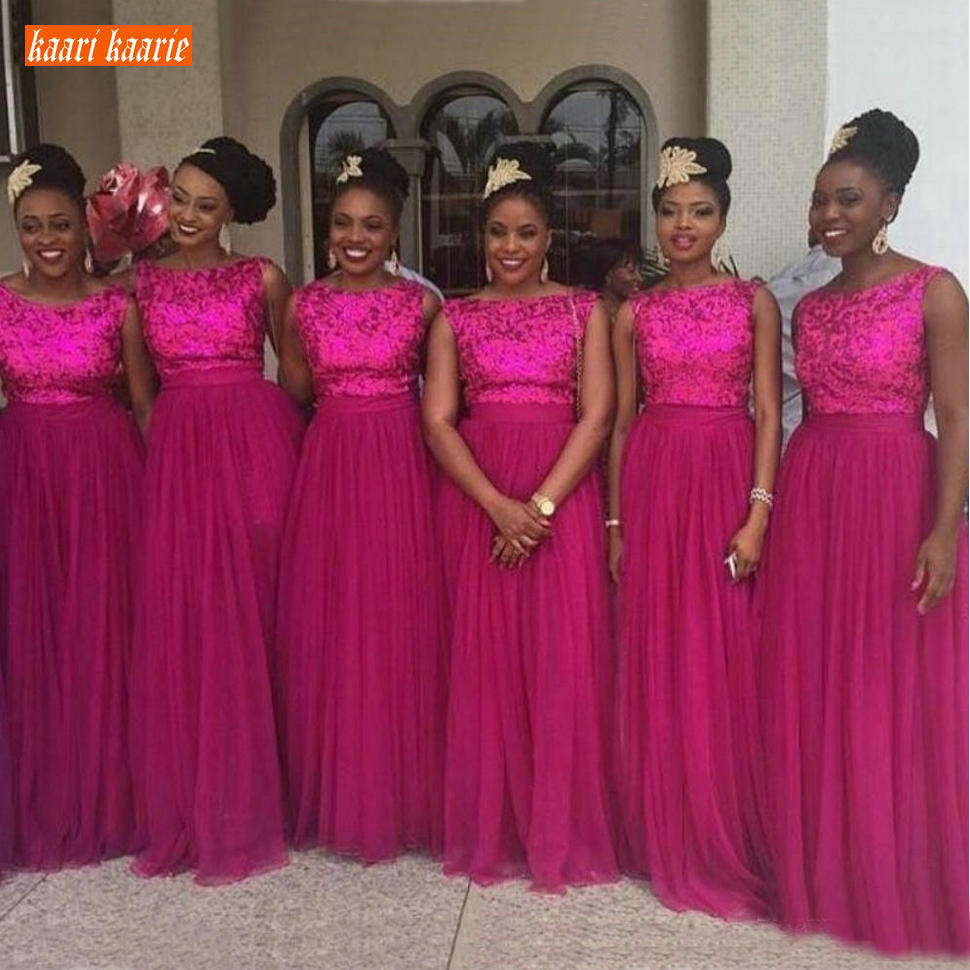 Trendy Fuchsia Bridesmaid Dresses Long Tulle Sequin A Line Wedding Party Guest Dress African Sleeveless Bridesmaids Gowns Custom