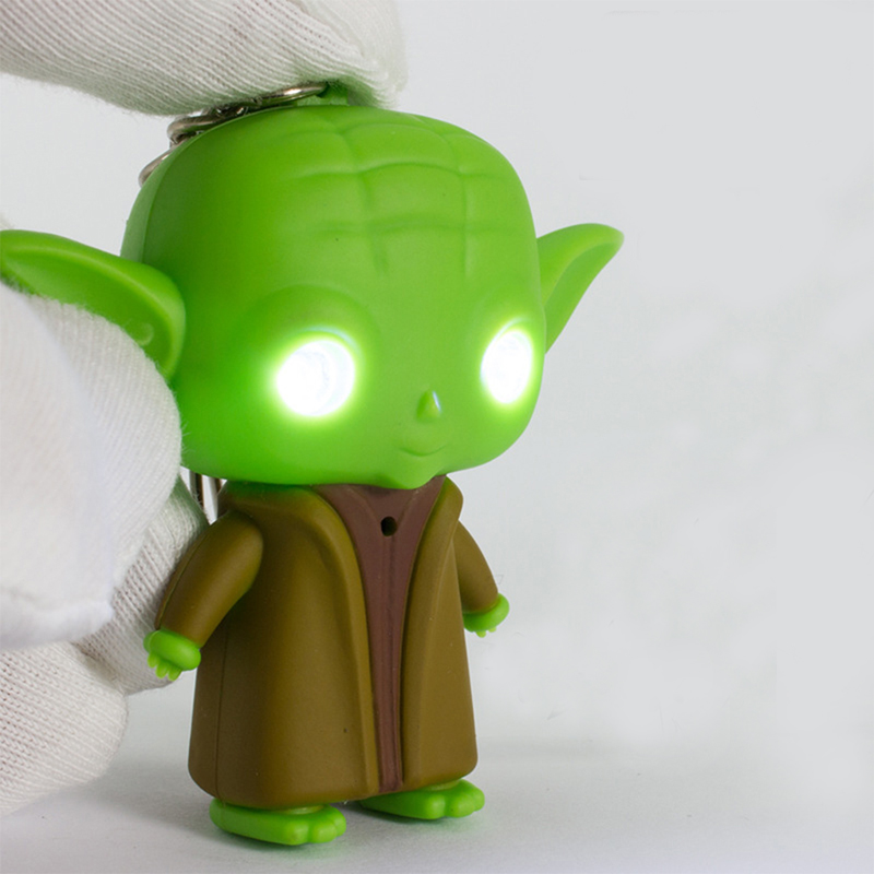 1pc Star Wars Master Yoda Pendant Figure Keychain LED Lite Torch Toy key rings
