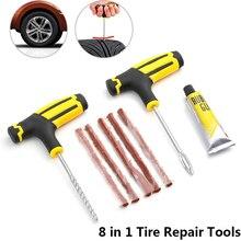 Reparación de neumáticos de coche herramientas Kit de reparación de neumáticos remache de la herramienta de la motocicleta de la bicicleta neumático sin cámara punción macho garaje Auto partes