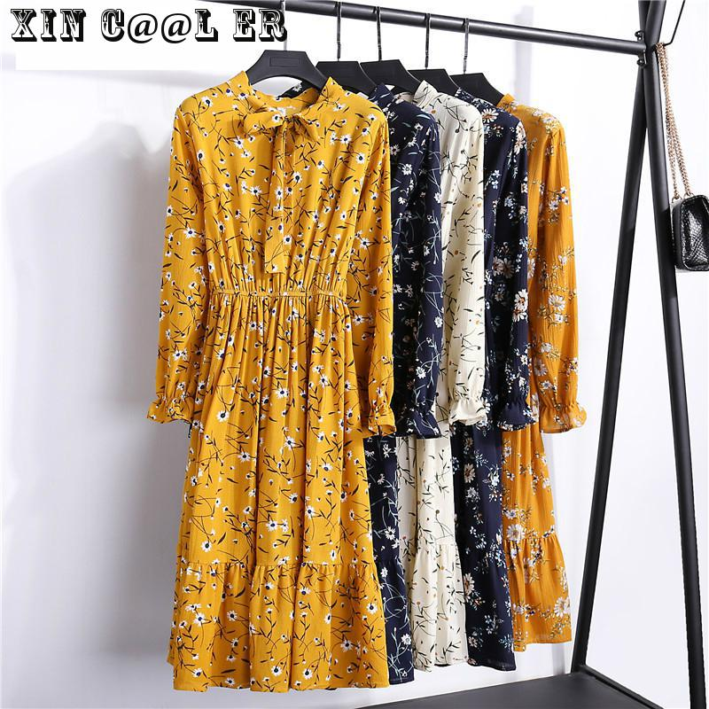 29 Colors Beautiful Fashion Spring Autumn Women Long Sleeve Dress Retro Collar Casual Slim Dresses Floral Printing Chiffon Sexy