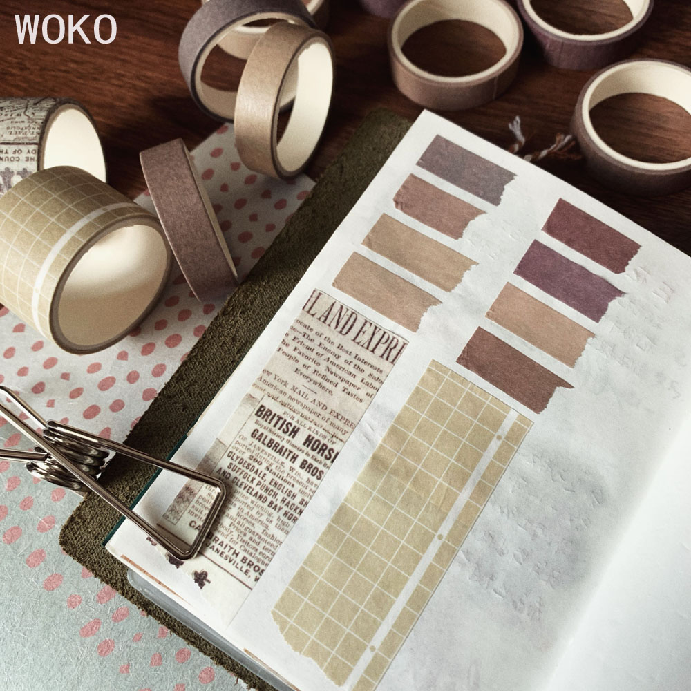 WOKO 10Rolls Retro Pure Color Masking Tape Sticker Forest Color Collage Bullet Journal Material Deco Washi Tape DIY Scrapbooking