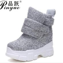 2019 Women Winter Ankle Boots Wedge Platform Sneakers Woman Boots 10CM