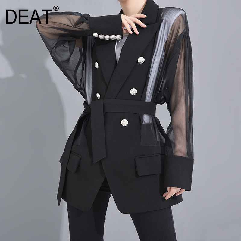 DEAT 2020 New Spring And Summer Fashion Women Clothing Turn-down Collar Full Sleeves Double Breasted Waist Belt Black Blazer