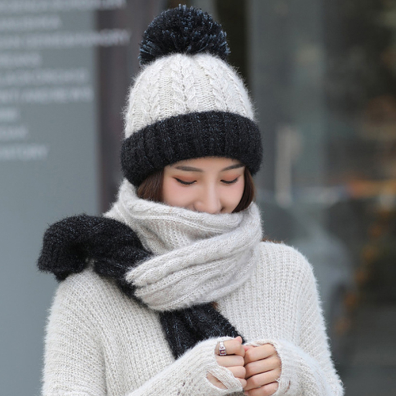 HT2687 Women Winter Hat Scarf Set Thick Warm Women Winter Accessories Lady Knitted Hat And Scarf Female Beanies Women Winter Set