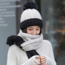 HT2687 Women Winter Hat Scarf Set Thick Warm Accessories Lady Knitted and Female Beanies