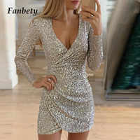 Dame Pailletten Glitter Shiny Club Mini Kleid Frauen Sexy Tiefem V-ausschnitt Slit Bodycon Kleid Herbst Langarm Party Kleid Dropshipping