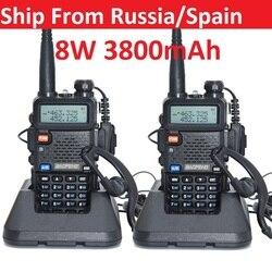 2pcs Walkie Talkie Baofeng uv-5r 5W/8W 1800/3800mAh battery Two Way radio CB radio communicador for ham raido Baofeng uv 5r